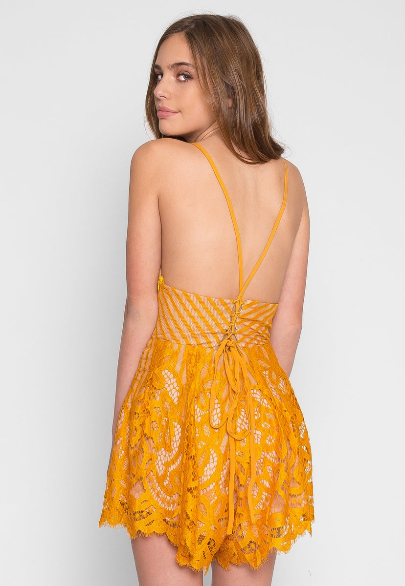 Tease Lace Romper in Mustard - Rompers & Jumpsuits - Wetseal