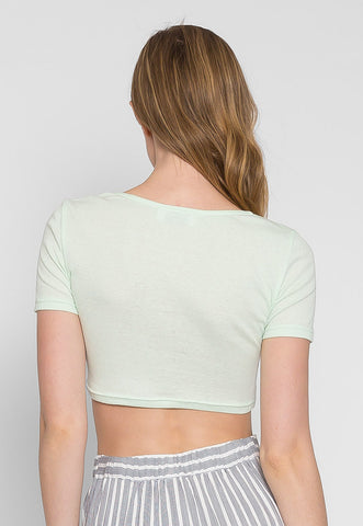 Bluestone Crop Henley Top in Mint