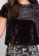 Extraordinary Velvet Crop Top in Black