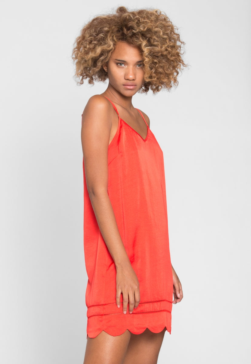 Big Heart Scallop Hem Dress in Red - Dresses - Wetseal