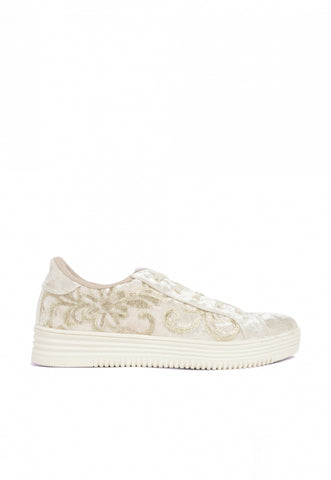 Jolly Velvet Embroidered Trainers in Gold