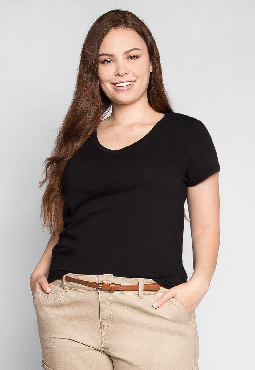 Plus Size The Basics V-Neck Tee in Black - Plus Tops - Wetseal