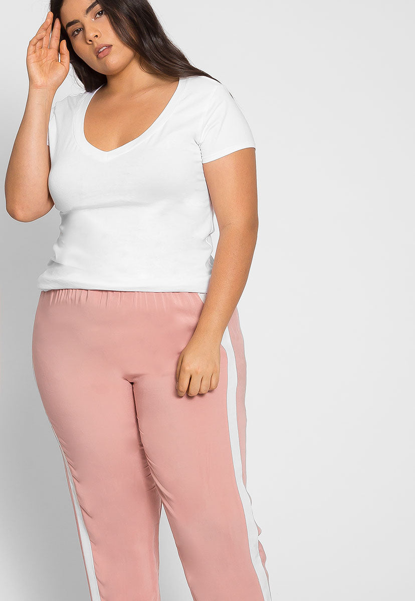 Plus Size The Basics V-Neck Tee in White - Plus Tops - Wetseal