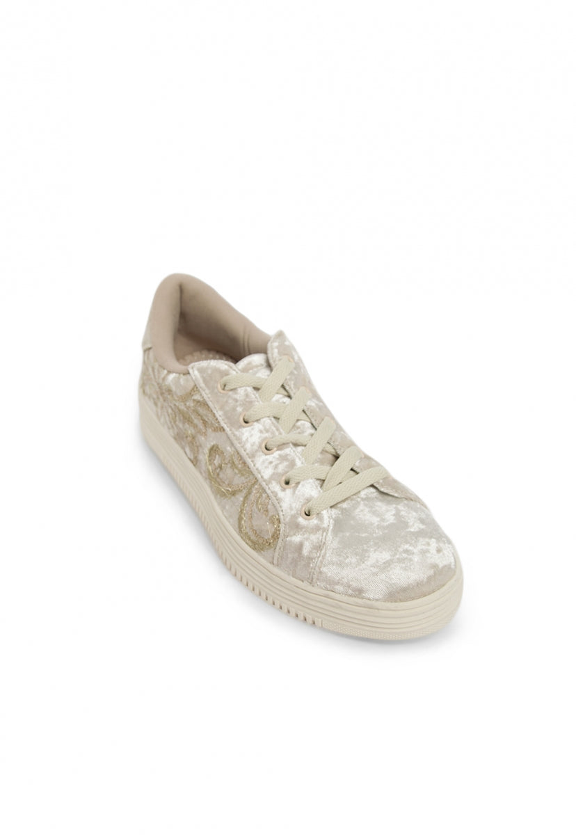 Jolly Velvet Embroidered Trainers in Gold - Shoes - Wetseal