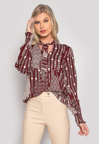 Charlotte Boho Tie Neck Printed Blouse