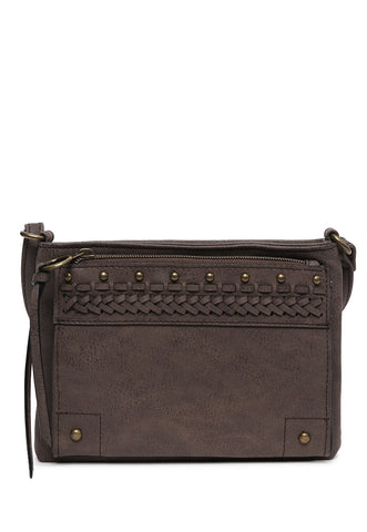 Whip Stitch Crossbody Bag in Gray