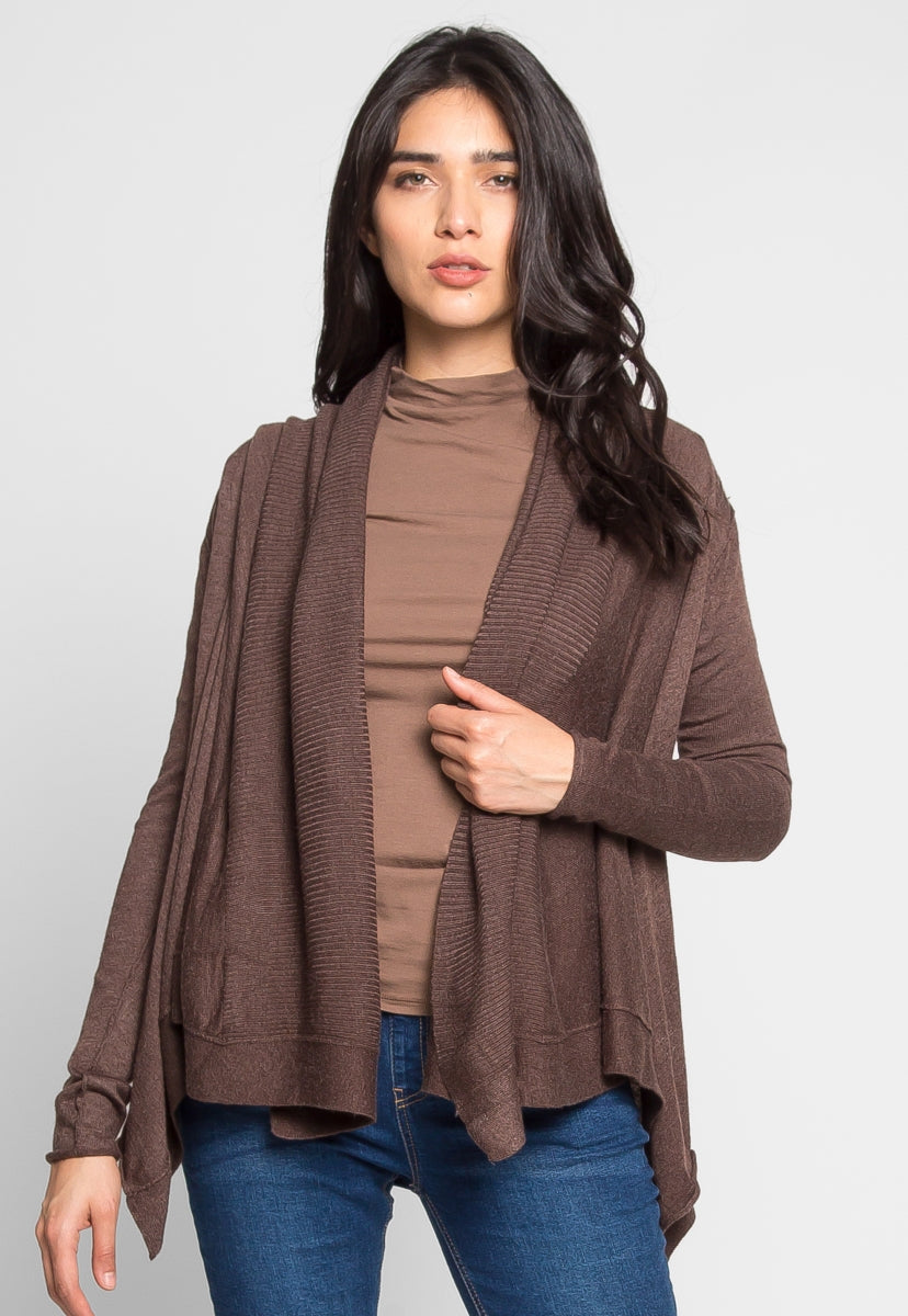 Cascade Open Front Cardigan in Brown - Sweaters & Sweatshirts - Wetseal