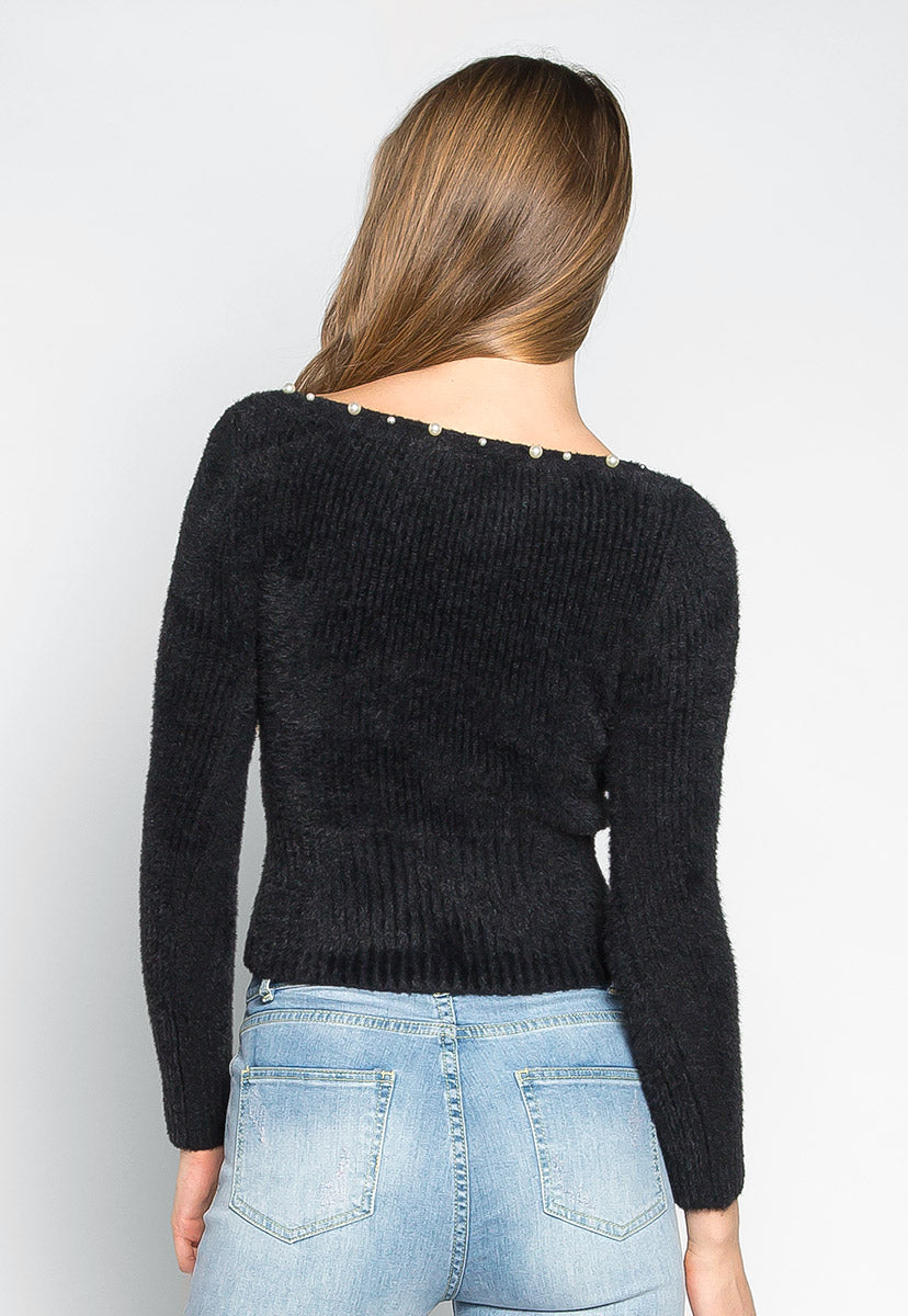 Baby Doll Fuzzy Crop Sweater in Black - Sweaters & Sweatshirts - Wetseal