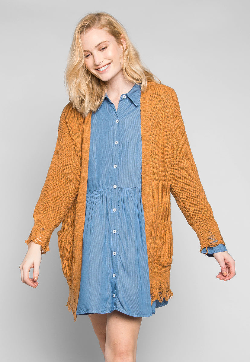 Fall Breeze Distressed Edges Cardigan in Brown - Sweaters & Sweatshirts - Wetseal