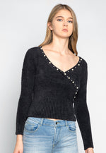 Baby Doll Fuzzy Crop Sweater in Black