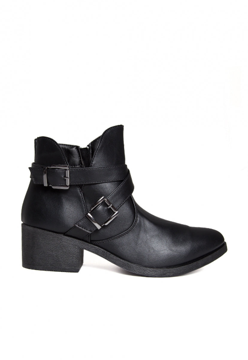 Tavern Buckle Ankle Boots in Black - Shoes - Wetseal