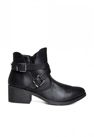 Tavern Buckle Ankle Boots in Black