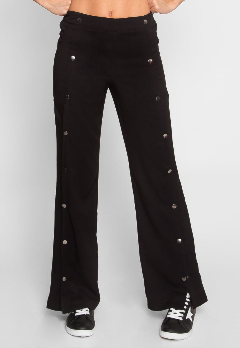 Impressive Button Front Palazzo Pants in Black - Pants - Wetseal