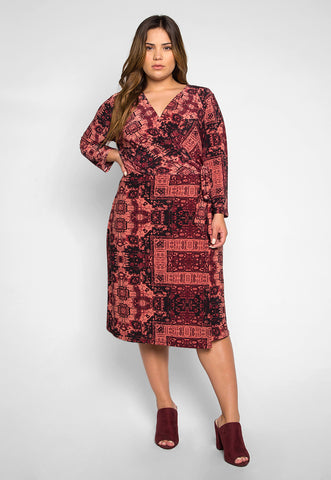 Plus Size Inspiration Printed Wrap Dress in Burgundy