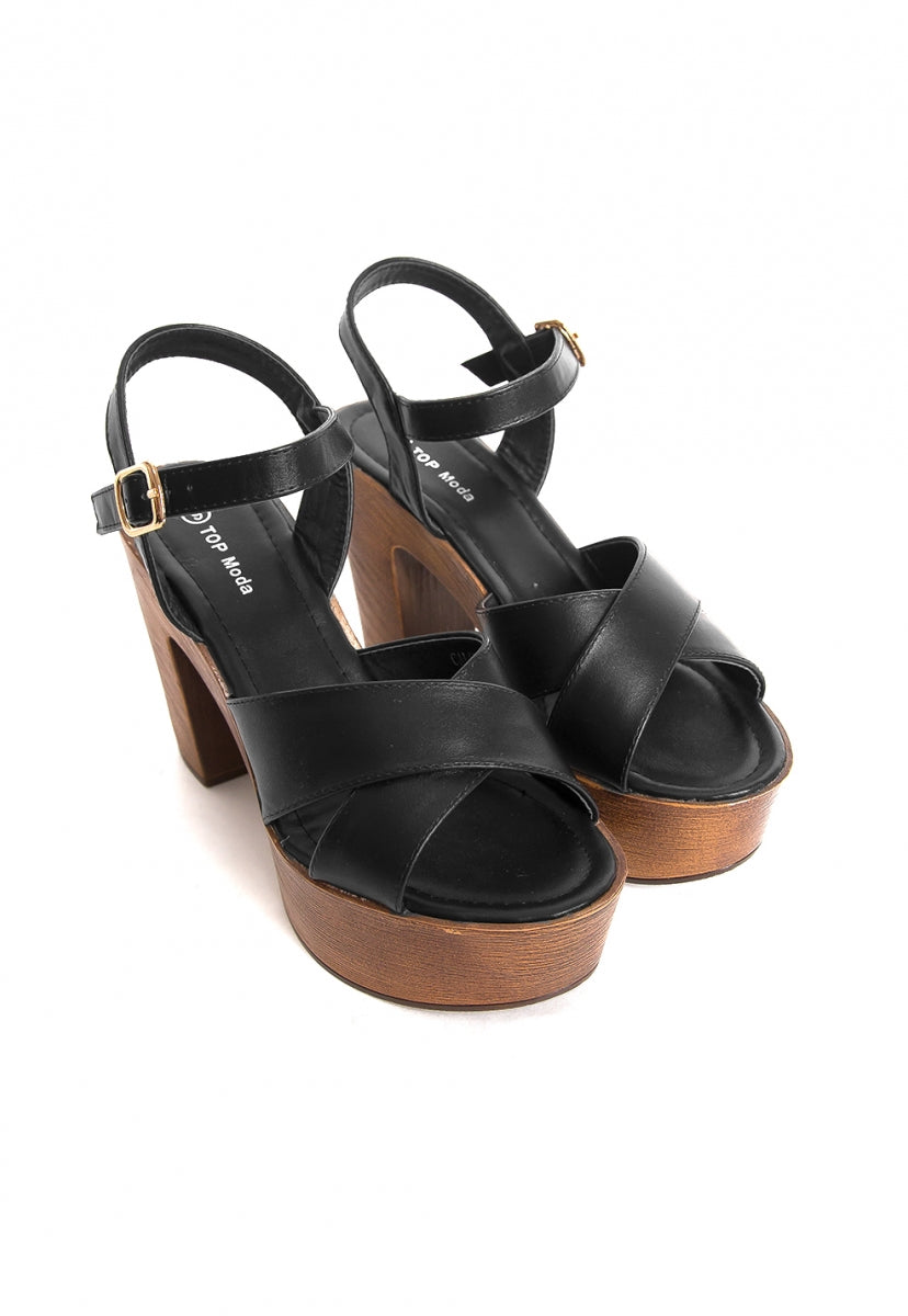 Harper Platform Heels in Black - Shoes - Wetseal