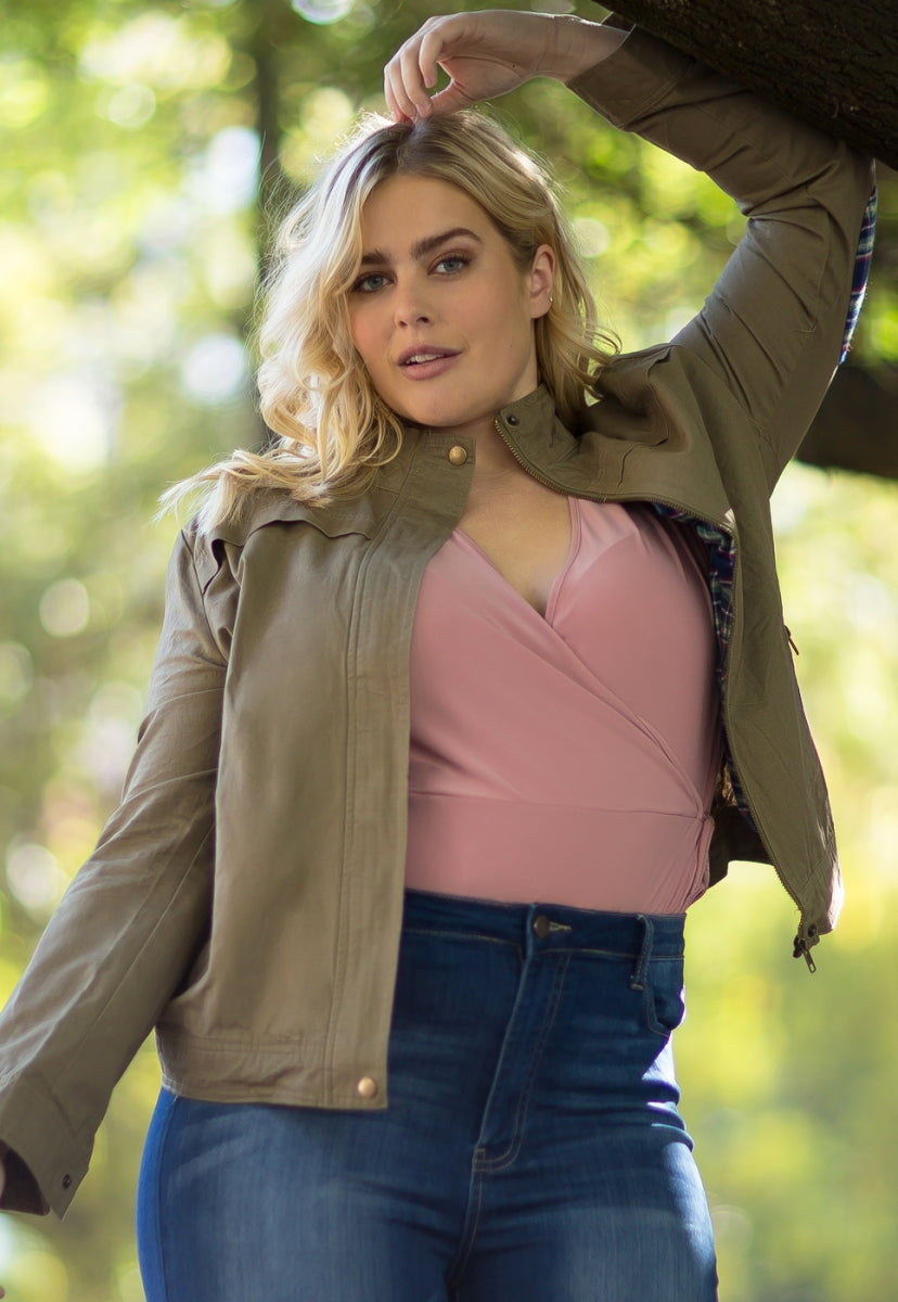 Plus Size Adventures Utility Jacket in Olive - Plus Outerwear - Wetseal