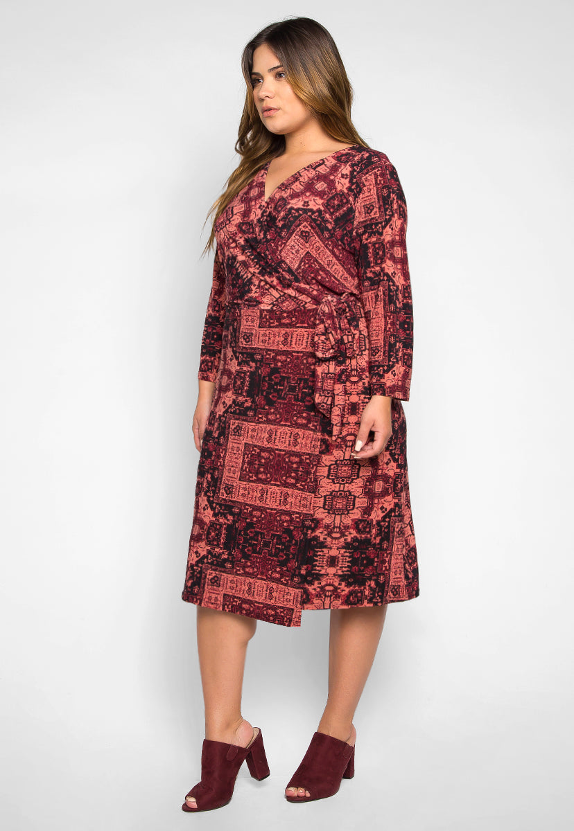 Plus Size Inspiration Printed Wrap Dress in Burgundy - Plus Dresses - Wetseal