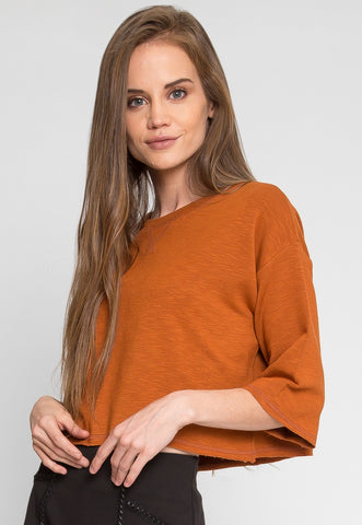 Zenith Crop Sweatshirt in Brown