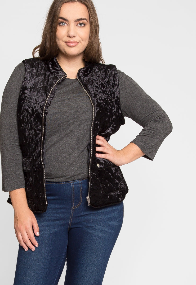 Plus Size ASpen Quilted Vest in Black - Plus Outerwear - Wetseal