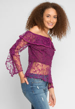 Sweet Kiss Embroidered Mesh Top in Purple