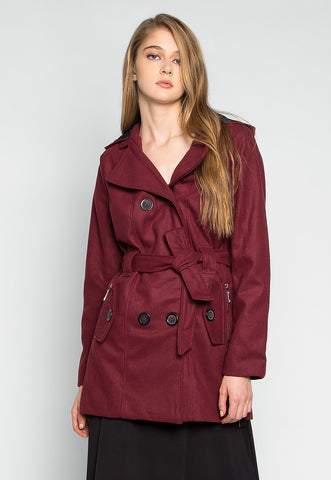 Hamptons Double Breast Hooded Coat