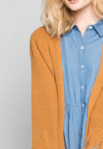 Fall Breeze Distressed Edges Cardigan in Brown