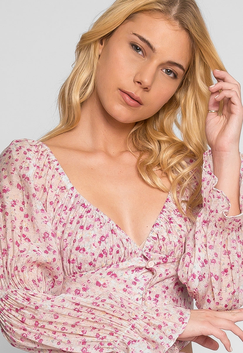 Alto Floral Off Shoulder Top in Pink - Crop Tops - Wetseal