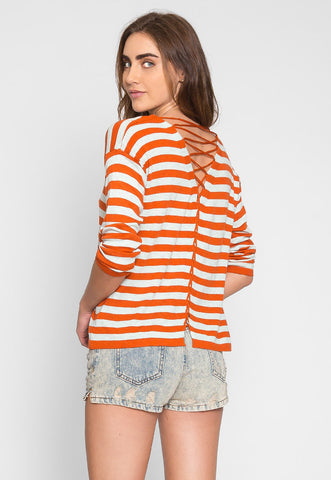 Grand Prize Stripe Sweater Top in Orange