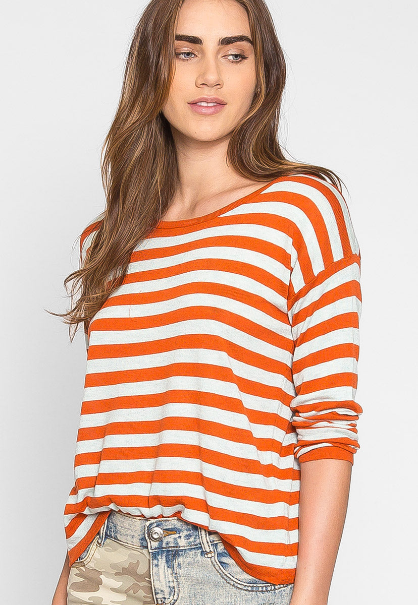 Grand Prize Stripe Sweater Top in Orange - Shirts & Blouses - Wetseal