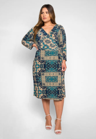 Plus Size Inspiration Printed Wrap Dress in Teal