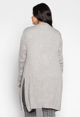 Plus Size Lucky Girl Open Front Cardigan in Gray