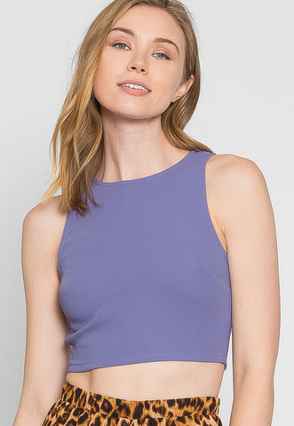 Periwinkle Sleeveless Crop Top