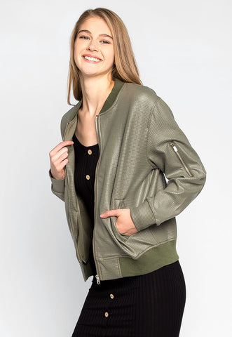 Power Play Faux Leather Bomber Jacket in Green