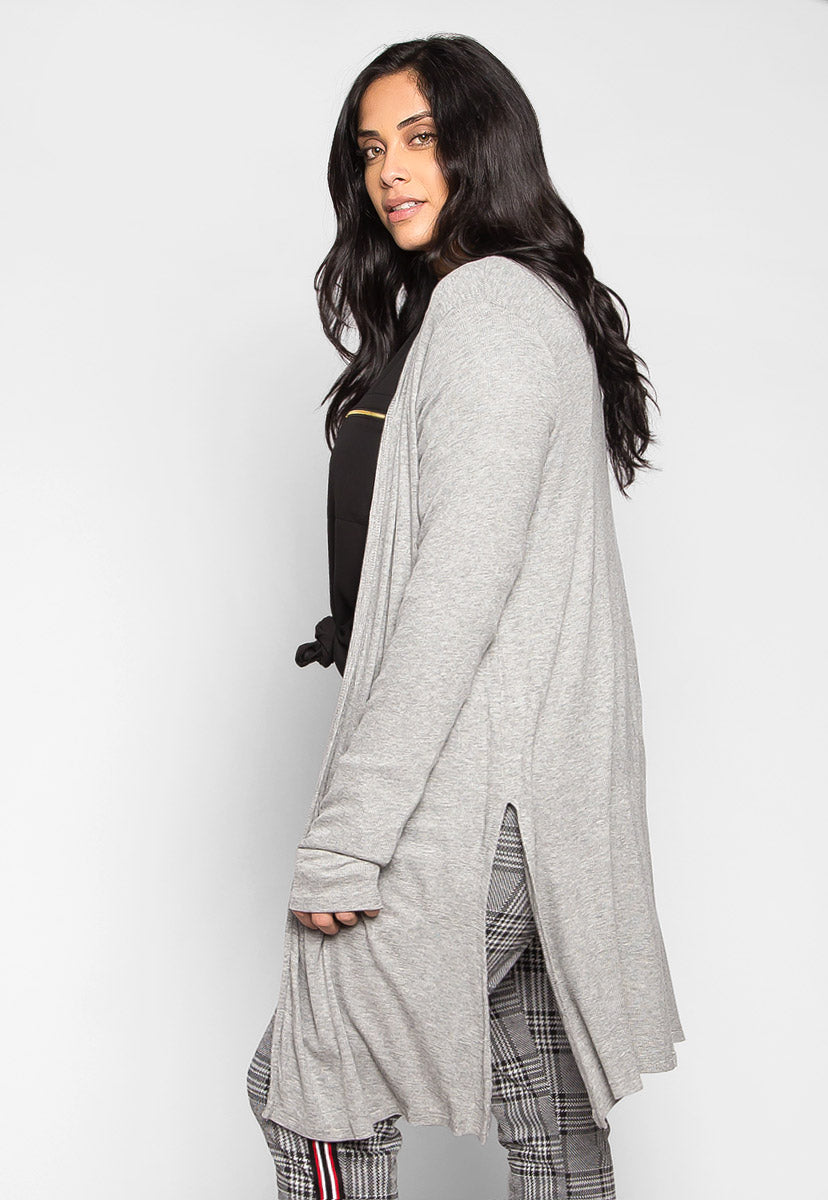 Plus Size Lucky Girl Open Front Cardigan in Gray - Plus Outerwear - Wetseal
