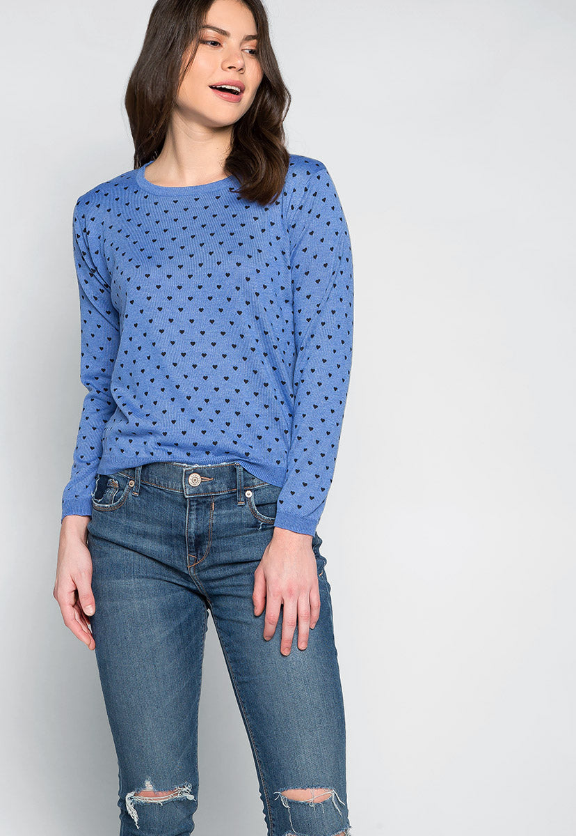 Soft Heart Printed Sweater in Blue - Sweaters & Sweatshirts - Wetseal