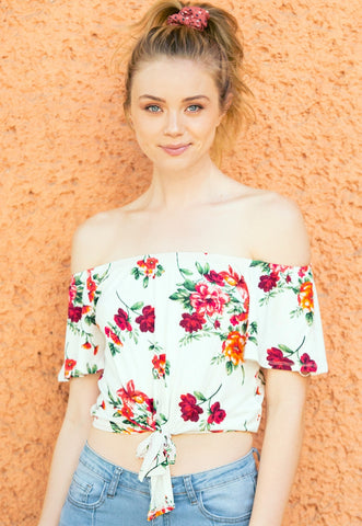 Moira Floral Off Shoulder Knit Top