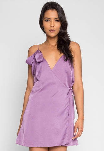Saturn Mini Wrap Dress in Mauve