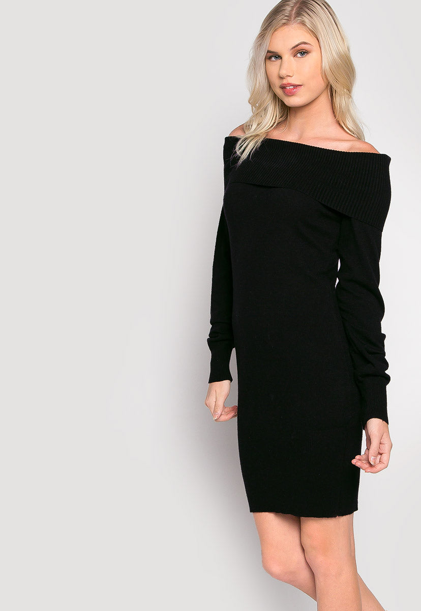 Cosmos Off Shoulder Sweater Dress - Dresses - Wetseal
