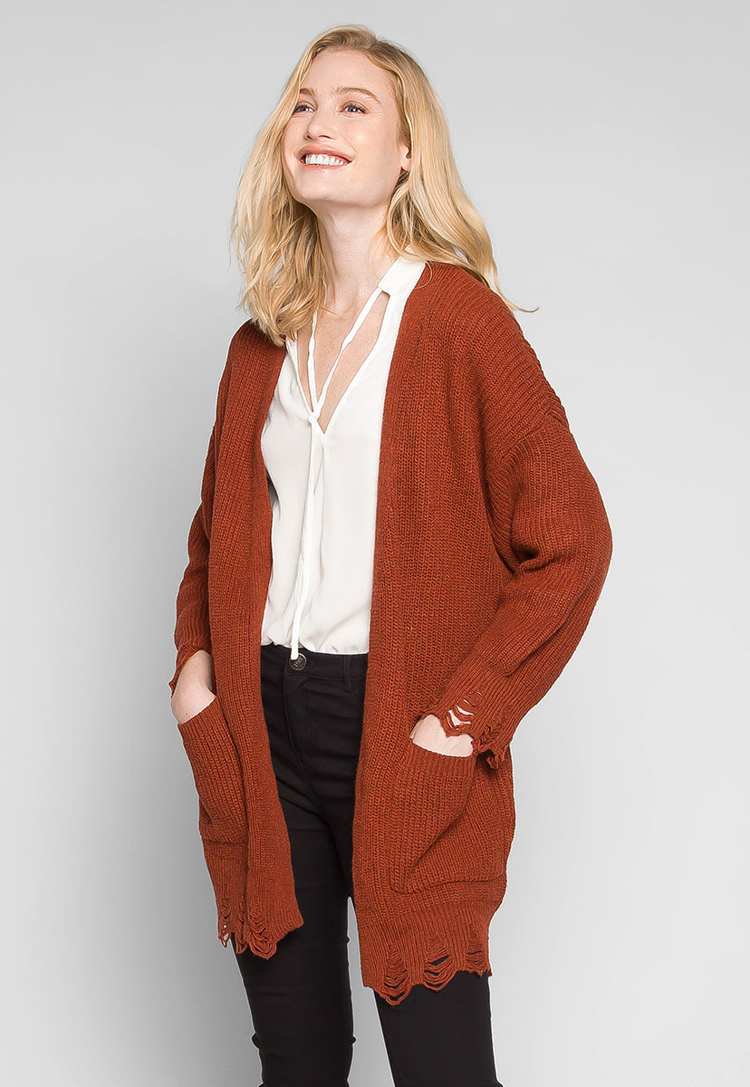 Fall Breeze Distressed Edges Cardigan in Rust - Sweaters & Sweatshirts - Wetseal