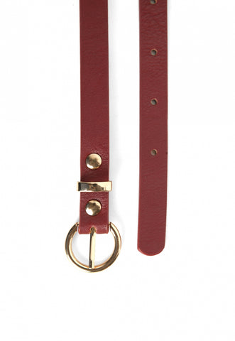 Leather and Chain Belt in Burgundy
