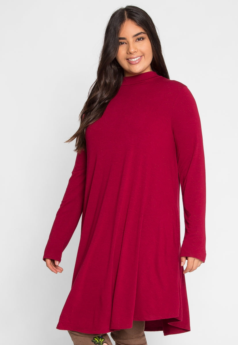 Plus Size Breezy Mock Neck Dress in Burgundy