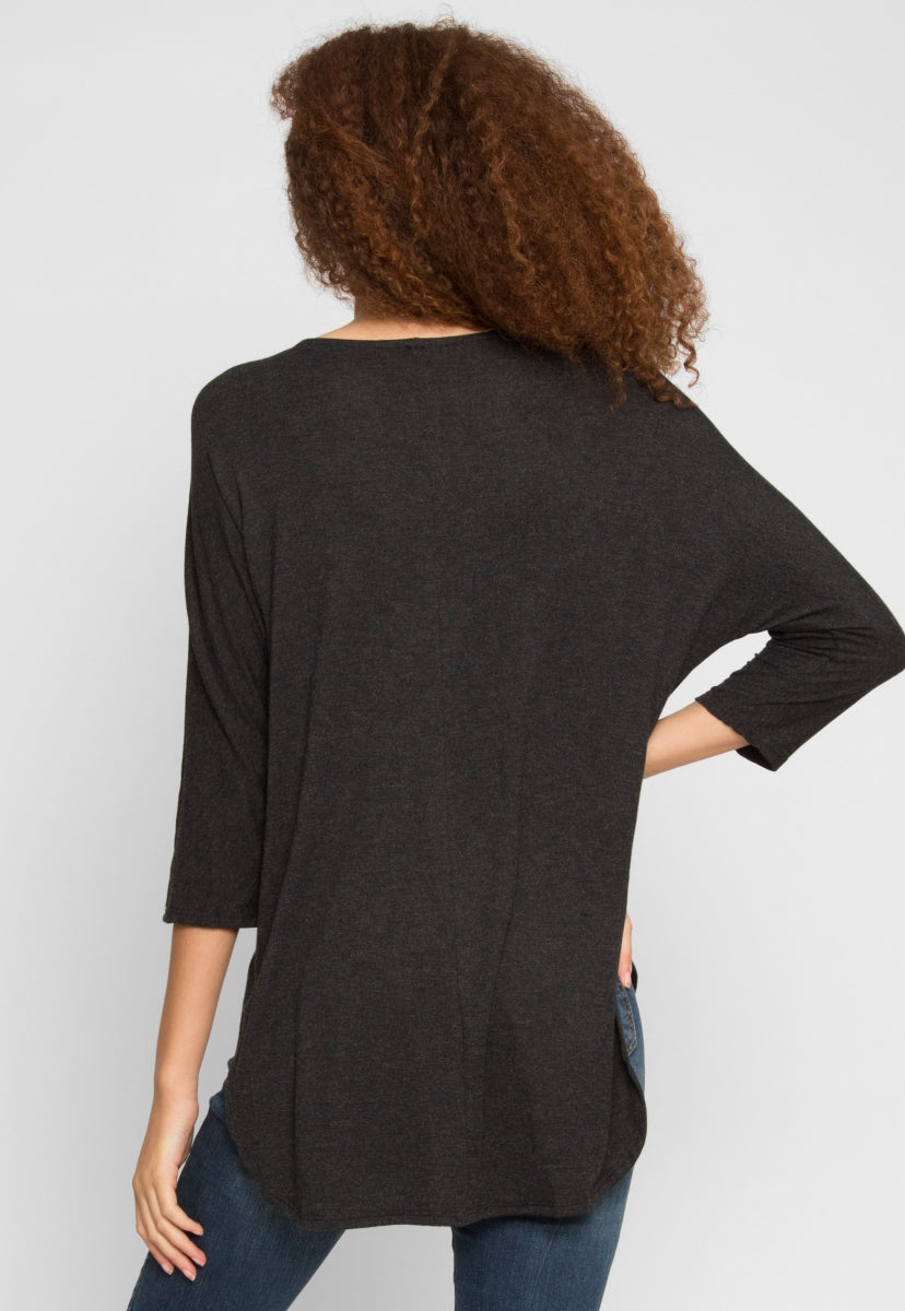 Cold Days Longline Knit Top in Charcoal - Shirts & Blouses - Wetseal