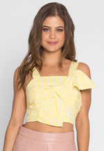 Refresh Bow Tie Gingham Crop Top
