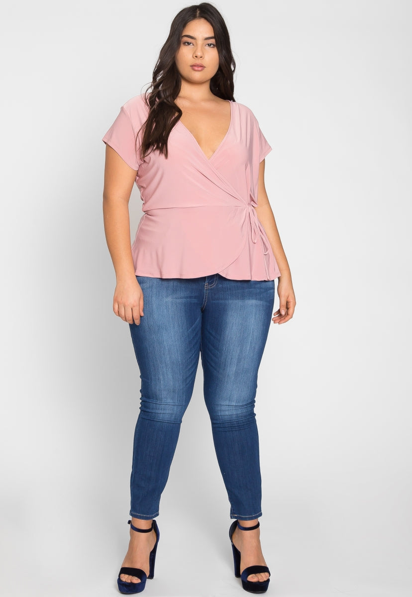 Plus Size Sweet Tooth Wrap Top - Plus Tops - Wetseal