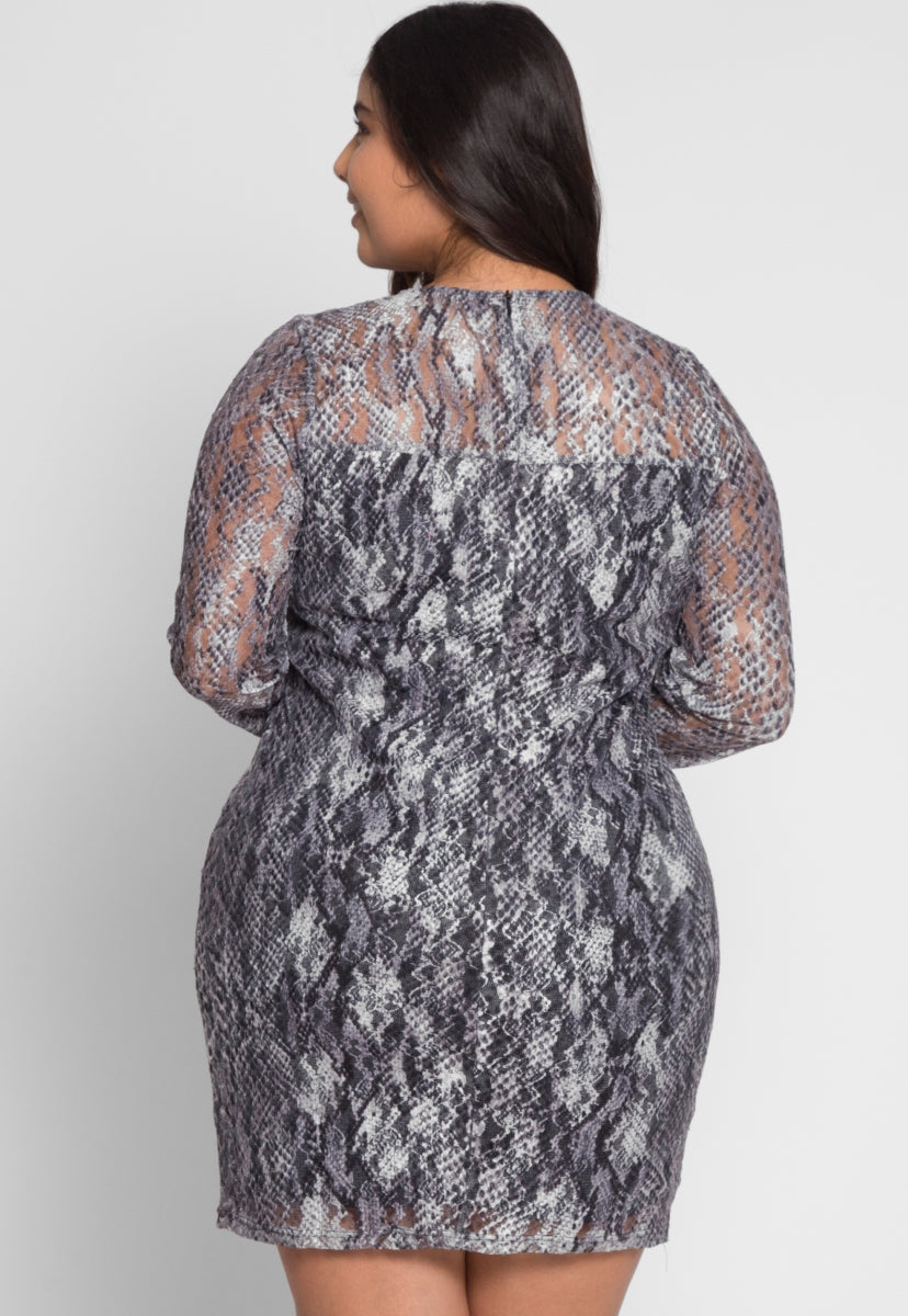 Plus Size Abstract Printed Dress - Plus Dresses - Wetseal
