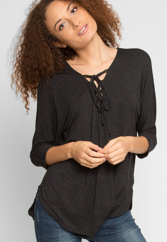 Cold Days Longline Knit Top in Charcoal