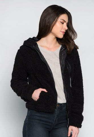 Above the Clouds Fluffy Jacket in Black