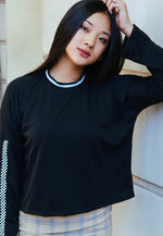 For You Checkboard Trim Knit Top in Black