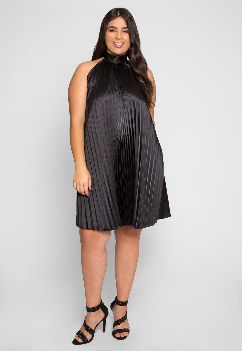 Plus Size Party Time Pleated Dress - Plus Dresses - Wetseal