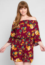 Plus Size Alice Floral Romper in Burgundy
